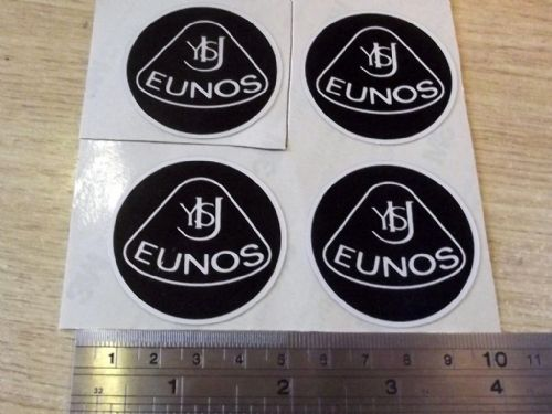 Badge, plastic, Eunos, retro style, 45mm, black/silver, set of 4